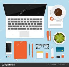 affaires de bureau lieu travail pour les affaires administration vue haut fournitures
