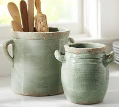 pottery canisters kitchen rustic cucina crocks blue pottery barn