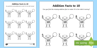 addition facts to 10 on robots activity sheet addition facts