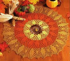 thanksgiving leaves doily pumpkin pot holder crochet