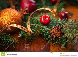 Traditional Christmas Decor Traditional Christmas Decoration On Wooden Table Royalty Free