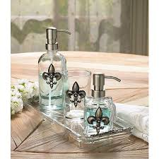3 piece silver fleur de lis bathroom accessory set u7925
