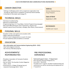1 page resume template sample resume format for fresh graduates one page format in