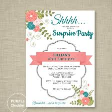 surprise invitation 70th birthday party invitation coral and