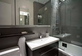 white wall themes combined by glazed shower areas and white vanity bathroom grey wall themes shower room with white bathtub and glass panel also black
