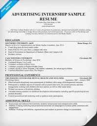 Sample Job Resume For College Student by Advertising Internship Resume Template Resumecompanion Com