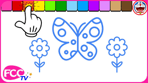 butterfly simple drawing for kids and painting flowers