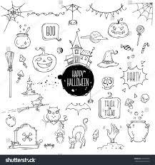 chalkboard halloween cat clear background halloween symbols hand drawn traditional illustrations stock
