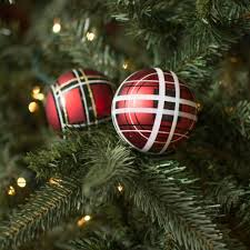 3 plaid ornaments black box of 6 n171203d