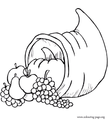 thanksgiving cornucopia with many fruits coloring page