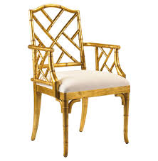 chinese chippendale hollywood regency gold bamboo dining arm chair