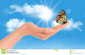 hand holding a butterfly against a blue sky and su royalty free