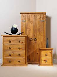 Solid Pine Wardrobes Bonsoni Countryhouse 1 X Two Drawer Bedside Cabinet 1 X Four