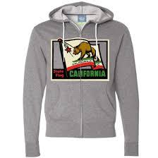 California Flag Horse California Vintage State Flag Zip Up Hoodie California Republic