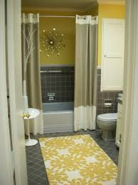 Yellow Bathroom Rugs Floral Prnted Yellow Bath Rug With Shower Curtain For