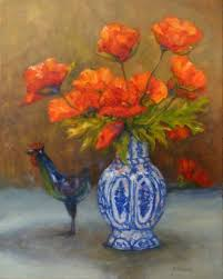 poppies with blue vase oil painting flowers