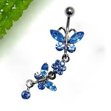 gem paved dangling butterfly belly button ring