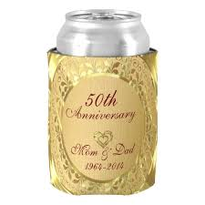 50 wedding anniversary gifts sparkling gold 50th wedding anniversary can cooler anniversary