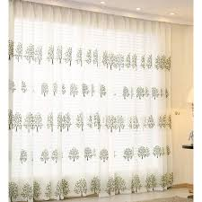Sheer Embroidered Curtains Embroidered Tree Pattern White Bedroom Sheer Curtains