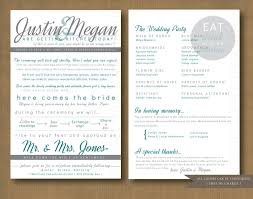 sided wedding programs modern sided wedding program printable via diy