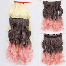 pink hair extensions brown gradient smoke pink curly 17 inch hair extension