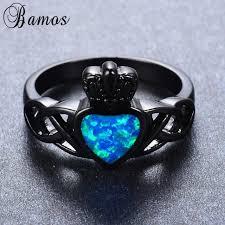 fire opal rings images Bamos cute heart style blue fire opal rings for female male black jpg