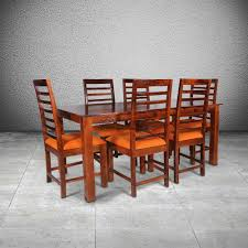 leighton dining room set leighton solid wood 6 seater dining set 1 table 6 chair in