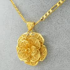 gold flower pendant necklace images Flower pendant necklace gold color for women and girls african JPG