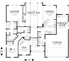 Garage House Floor Plans Craftsman Style House Plan 2 Beds 2 Baths 1728 Sq Ft Plan 48