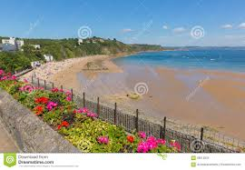 North Beach House Tenby Tenby Beach Wales Uk In Summer With Beautiful Bright Pink And Red