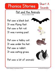 reading comprehension worksheet pat and the animals
