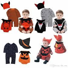2018 halloween baby clothes devil vampire pumpkin hat rompers vest