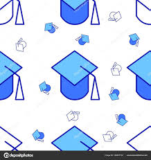 graduation wrapping paper graduation college hat vector pattern seamless background