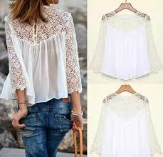 white blouses cheap 2015 summer plus size white lace floral blouses