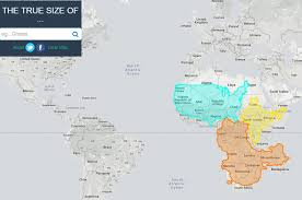 clear world map with country names the true size map lets you move countries around the globe to