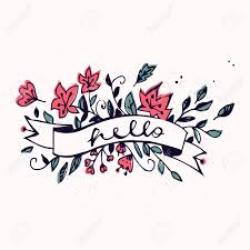 hello ribbon hello lettering with ribbon and flowers brush