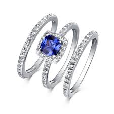 ring sets cushion cut 925 sterling silver sapphire 3 halo ring sets