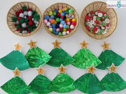 Food Decorations For Christmas Tree by Paper Plate Christmas Tree Counting Decoration Learning 4 Kids