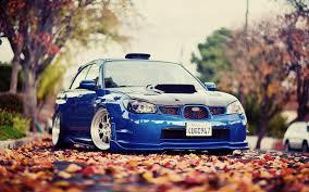 subaru wrx tuner subaru wrx tuning blue car autumn leaves hd wallpapers