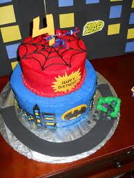 the happy caker superhero cake spiderman batman and the hulk