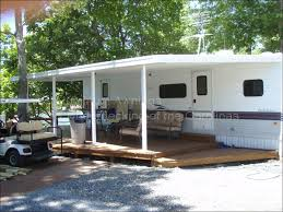 Rv Awning Shade Screen Aluminum Awning Attached To Rv Lodge Deck Screen Room Ideas