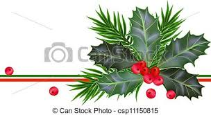 vector clip art of christmas and new year card with holly leaves
