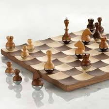 chess set designs wobble wood chess set designs cute but probably not the best