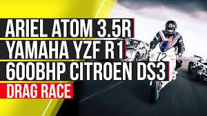 motocross drag racing ariel atom 3 5r vs yamaha yzf r1 vs rallycross racer 95 octane