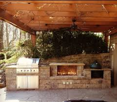 cincinnati green egg outdoor patio traditional with fireplace