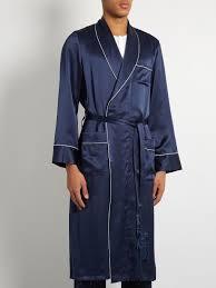 chambre high tech derek bailey silk satin bathrobe mens navy clothing