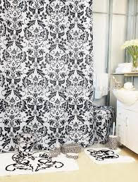 Bath Sets With Shower Curtains Luxury Damask Black Bathroom Set Shower Curtain With Bath Rug Sets