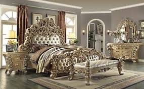 Bedroom Set Gold Tufted Headboard Royal LuxoStart Cal King Eat - Tufted headboard bedroom sets