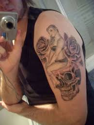 up sat on skull with roses