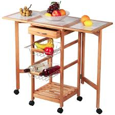 Kitchen Island And Carts Amazon Com Topeakmart Portable Rolling Drop Leaf Kitchen Island